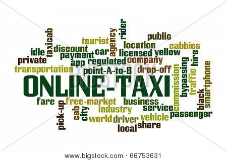 Online Taxi Word Cloud on white background