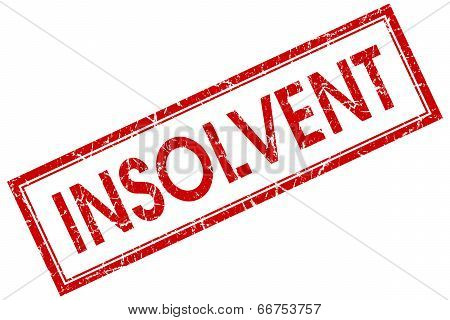 Insolvent Red Square Grungy Stamp Isolated On White Background