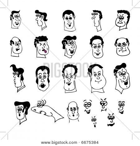 Funny Cartoon Heads And Faces