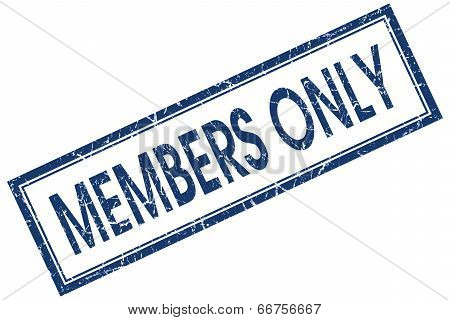 Members Only Blue Square Grungy Stamp Isolated On White Background