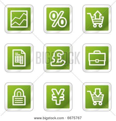 E-business web icons, green square series