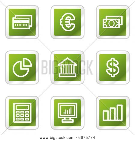 Finance web icons, green square series