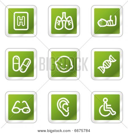 Medicine web icons set 2, green square series