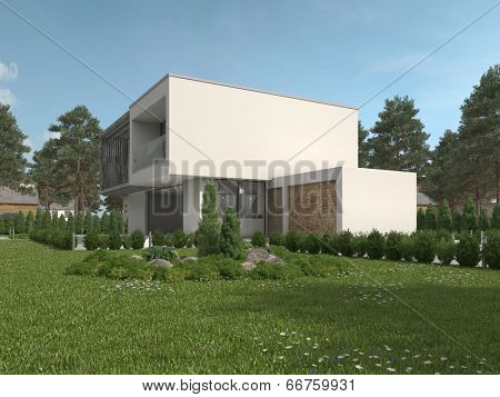 Modern luxury flat roofed double storey house with two garages in a green landscaped garden