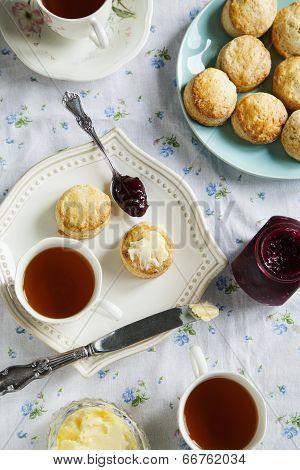 Scones And Tea. Selective Focus