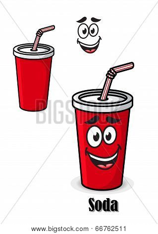 Soda drink in a red takeaway cup with straw