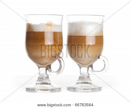 Latte Coffee, Two Glass Mugs With Handles On White Background