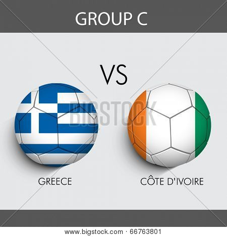 Group C Match Greece v/s Japan countries flags for Soccer Competition in Brazil.