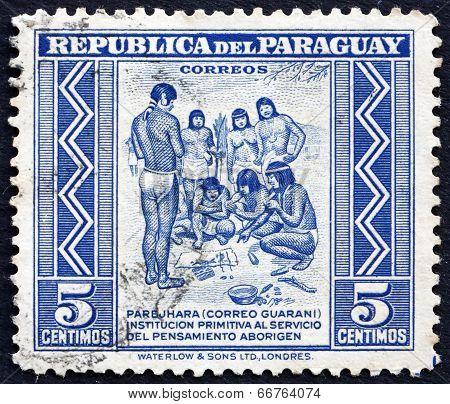 Postage Stamp Paraguay 1946 Primitive Postal Service Among India