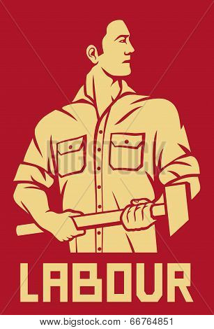 worker holding a hammer poster
