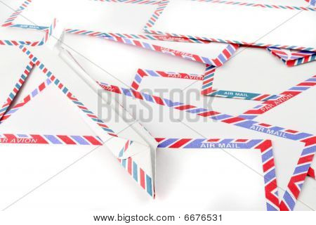 Air Mail Envelopes With Paper Plane