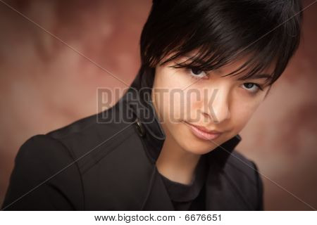 Attractive Ethic Girl Poses For Portrait
