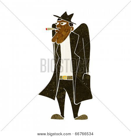 cartoon man in hat and trench coat