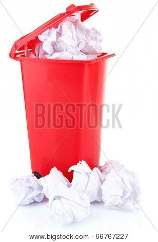Crumpled paper balls in trashcan isolated on white