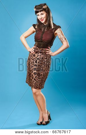 Pin-up Girl With Tattoos Standing