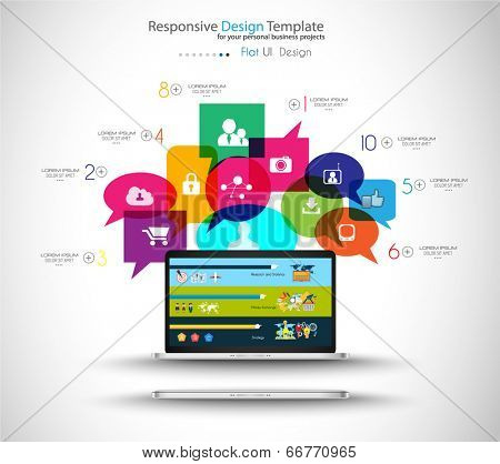 Modern Cloud Globals Services concept background for social media advertising and communications with real devices mockup.