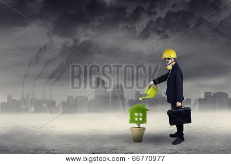 Businessman Watering Plant Under Air Pollution 1