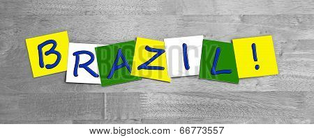 Brazil, Word Sign Series In National Flag Colors For Countries.