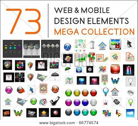 Mega collection of web mobile design elements - icons, buttons, illustrations