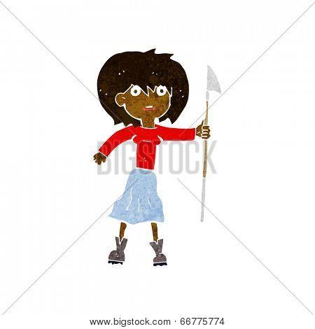 cartoon woman with harpoon