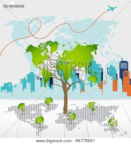 Tree shaped world map with building background. Vector illustration.