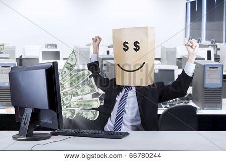 Happ Face Of Businessman Looking Money