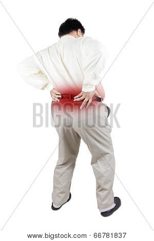 Obesity Businessman Getting Back Pain