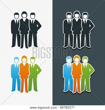 Vector isolated business people icon set. Team work concept.