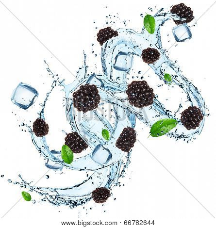 Fresh berries with water splash over white background