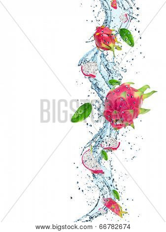 Dragon fruit in water splash isolated on white background