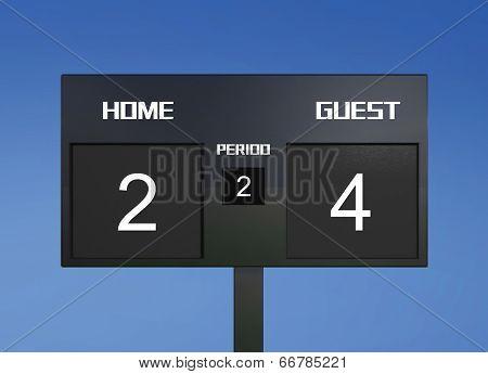 Soccer Scoreboard Score 2 & 4