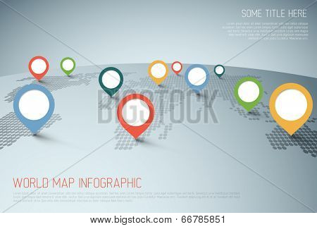 World map with pointer marks -  communication concept