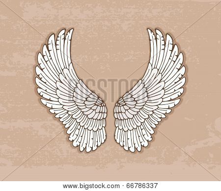 Pair of white wings in vintage style