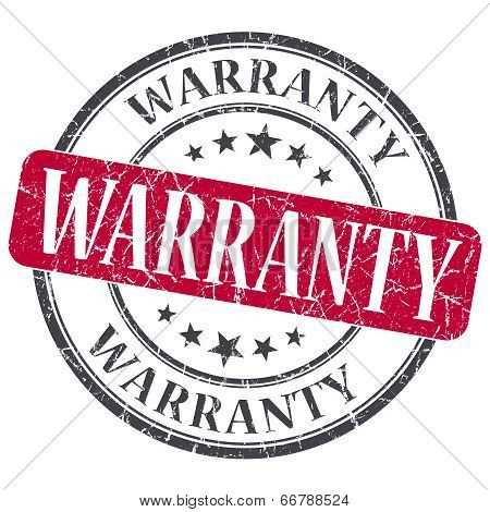 Warranty Red Grunge Textured Vintage Isolated Stamp