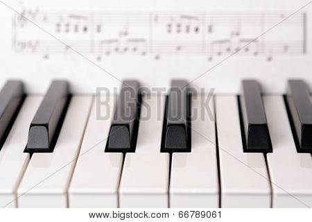 Close-up piano keyboard
