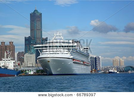 Giant Cruise Ship Docks In Taiwan