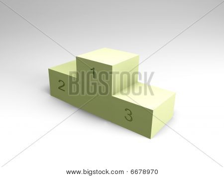 Winner podium - light green with numbers, 3d image