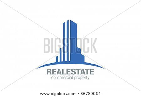 Commercial Property Real Estate vector logo design. Realty Concept icon. Skyscraper silhouette