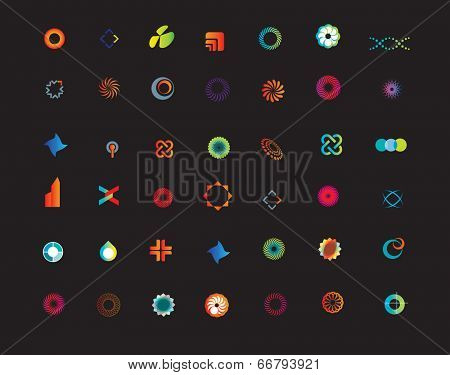 set of new business or company icons on a black background