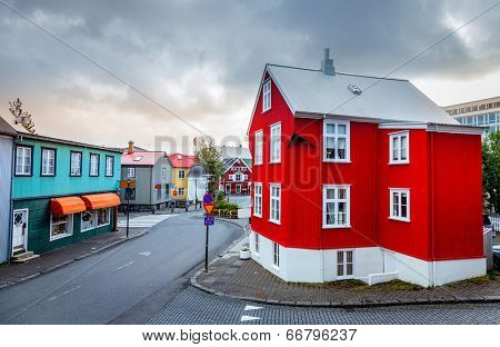 A street in central part of Reykjavik, Iceland