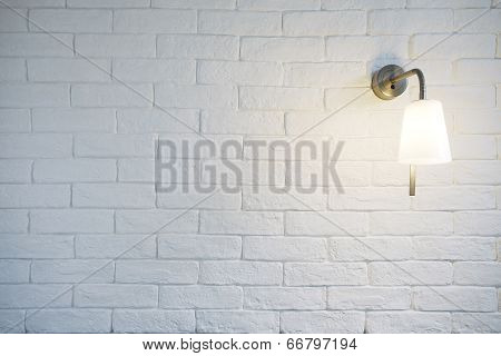 White Misty Brick Wall Background Or Texture With Turn On Bra
