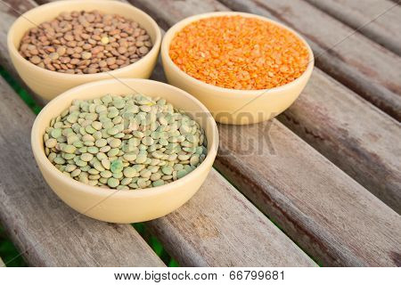 Three Types Of Dried Lentil