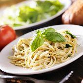 picture of pesto sauce  - plate of italian spaghetti with pesto sauce - JPG
