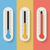 foto of fahrenheit thermometer  - Thermometers on color background - JPG