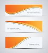 image of orange  - Abstract vector business background banner beautiful orange wave - JPG