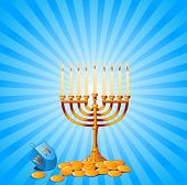 stock photo of menorah  - Jewish festival of Hanukkah - JPG