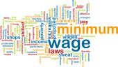 picture of sweatshop  - Word cloud concept illustration of minimum wage - JPG