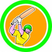 foto of cricket bat  - Illustration of a cricket player batsman with bat batting set inside circle done in cartoon style on isolated background - JPG