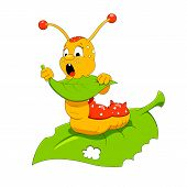 stock photo of caterpillar cartoon  - Cartoon vector illustration of funny hungry caterpillar - JPG
