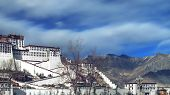 stock photo of winter palace  - Exterior of holy Potala Palace in Lhasa - JPG